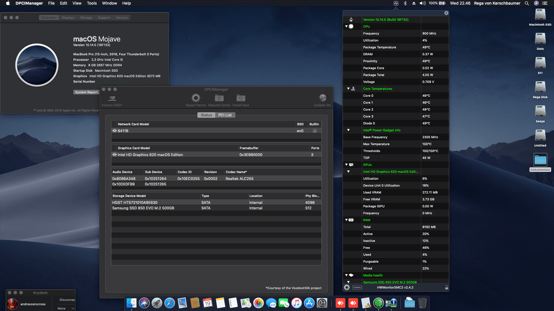 Succes Hackintosh macOS Mojave 10.14.5 Build 18F132 at Acer Nitro 5 AN515-52